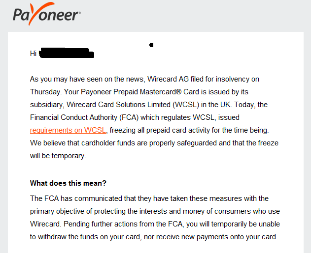 payoneer wirecard